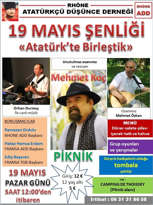 19 mai : Atatürk Düsünce Dernegi Rhône / 19 mayis senligi