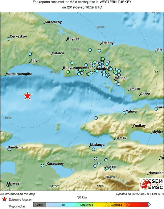 Un séisme de magnitude 5,7 frappe l'ouest de la Turquie